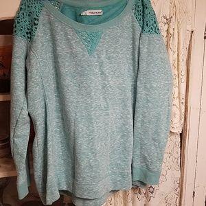 Maurices teal sweatshirt/lace shoulder